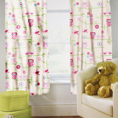 "Owls Children's Kids Curtains 66"" by 72"" + Tiebacks Nursery Bedding Blinds Twoo"