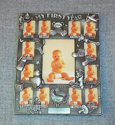 My First Year Baby Boys Picture Frame Birth To 1 Year Stand/ Wall Hang