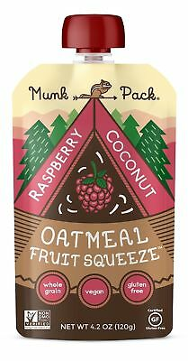 Munk Pack Oatmeal Fruit Squeeze | Raspberry Coconut Ready-to-Eat Oatmeal On T...