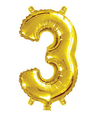 35cm 14 Inch Gold Foil Balloon 3 Party Decoration Birthday Wedding Number No.