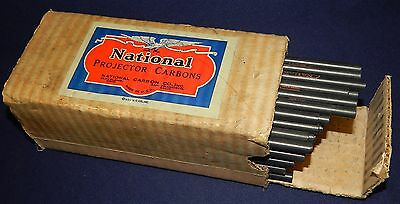 """Vtg 1924 Box of 96 NOS National Arc Carbon Rods 8 mm x 8"""" Projector Cored F 3910"""