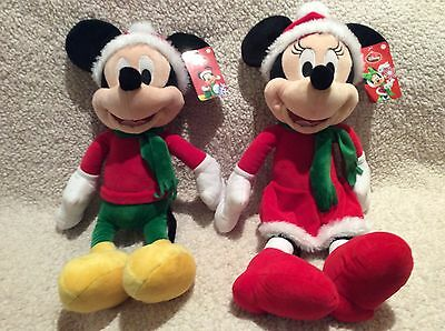 """NEW Mickey & Minnie Mouse Christmas Plush Wearing Santa Outfits 20""""H"""