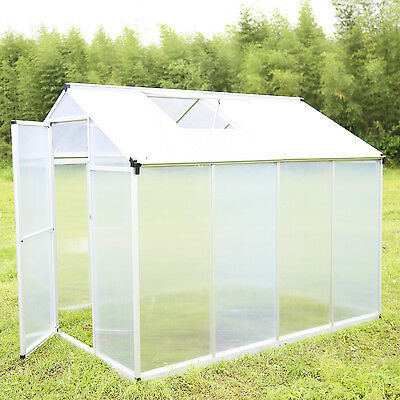 8x6Ft Greenhouse Aluminum Frame All Weather Heavy Duty Walk-In Polycarbonate New