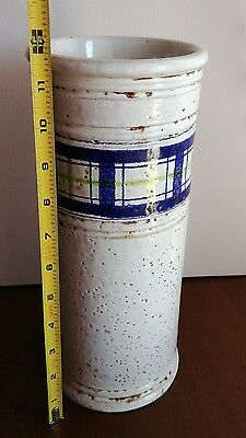 Vintage Bitossi Italian Art Pottery Plaid on White Cylinder Vase Raymor Netter