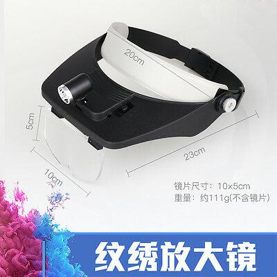 4 Lens LED Hands free Magnifier Glass For Microblading Tattoo Eye Lash Extension