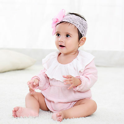 Baby Girl Organic Cotton Bodysuits Long Sleeve Newborn Girl Ruffles Cuff Clothes