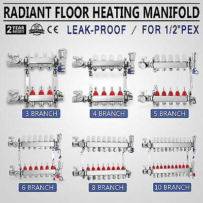 STAINLESS STEEL Underfloor Heating 3-10 Manifold Set Pipes Conectors Size 1/2''