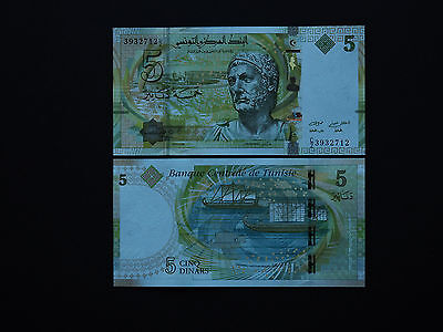 "TUNISIA BANKNOTES  5 DINARS  p95  ""HANNIBAL""  2013 - BRILLIANT NOTE  MINT UNC"