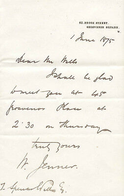 William Jenner - Autograph Letter Signed 06/01/1875 With Co-Signers