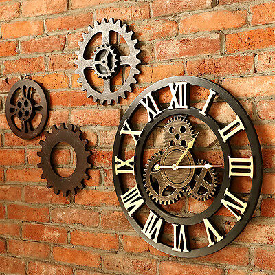 40/60/80cm Handmade Clock Large Gear Wall Clock Vintage Rustic Classic Art Decor