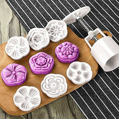 Moon Cake Mold with 6 Stamps - Mid Autumn Festival DIY Decoration Press 50g