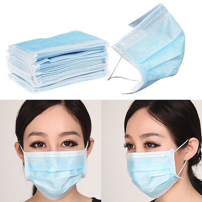 50pcs Disposable Surgical Medical Mouth Flu Face Mask Anti-Dust Mouth Cover Blue