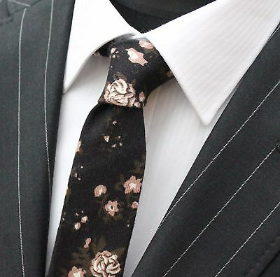 Tie Neck tie Slim Black With Brown Floral Quality Cotton UTO10
