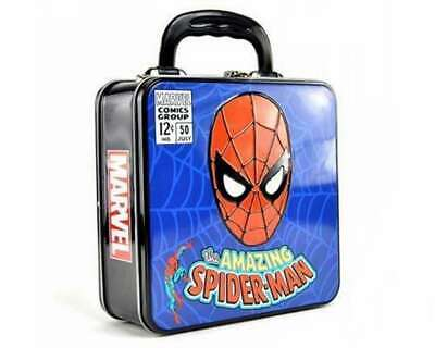Official Marvel Comics Spiderman Embossed Metal Lunch Box Tote Tin Case New