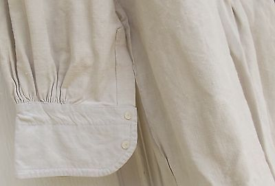 Antique French Dress Shirt Chemise Pure Linen Handmade shirt 1880s Pearl buttons