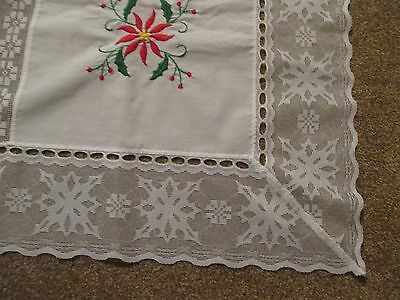 "White Lace with Red Poinsettias Fabric Patch Christmas Tablecloth 75w x 108"" l"