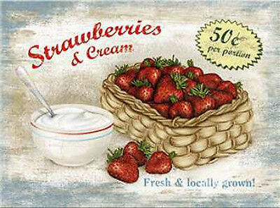 Magnet Strawberries & Cream, 8 x 6 cm
