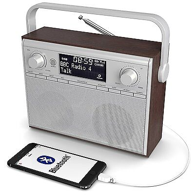Majority Impington DAB+ DAB FM Digital Stereo Portable Radio Alarm Wood Finish