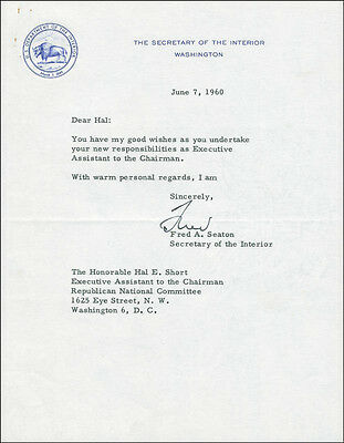 Frederick A. Seaton - Typed Letter Signed 06/07/1960