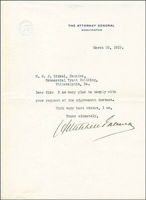 A. Mitchell Palmer - Typed Letter Signed 03/20/1919