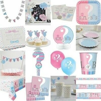 Gender Reveal Baby Shower Tableware Boy Girl Decorations Pink Blue Neutral Party