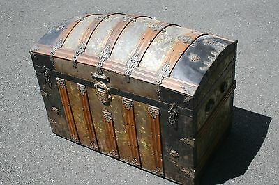 Antique Steamer Camel Back Dome Top Trunk 1870's w/ Tray Toned Tin Covering