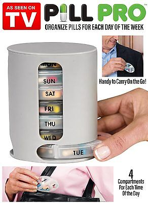 PILL PRO Pill Organiser Pill Box 7 Day Compartments Tablet Holder