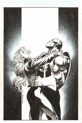 Captain America #31 Cover - Cap and Sharon Carter - 2000 art by Andy Kubert