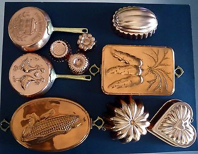 Copper Molds With Brass Handles - Large & Small Molds - Set Of 10