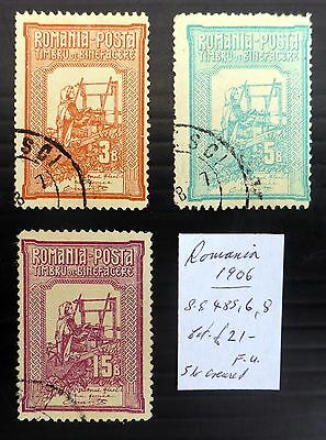 ROMANIA 1906 - 3 Values Fine/Used As Described NB2134