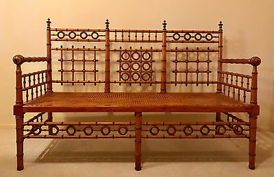 Extremely rare R.J.Horner 19th Century faux bamboo settee