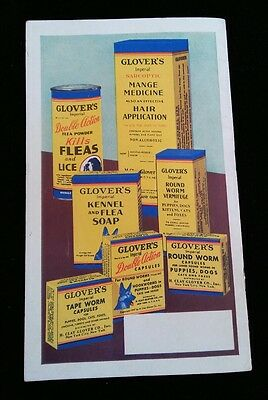 1937 Vintage Glover's Dog Book Care Guide Advertising Brochure Pet Medicine Uses
