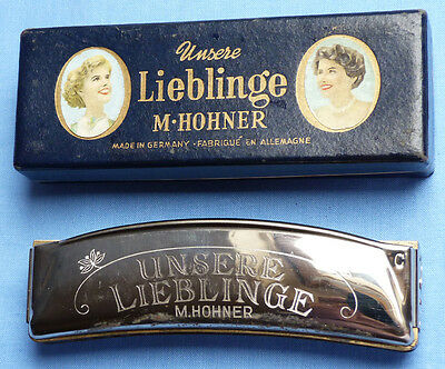 Vintage German 1930's Hohner Unsere Lieblinge Harmonica And Box