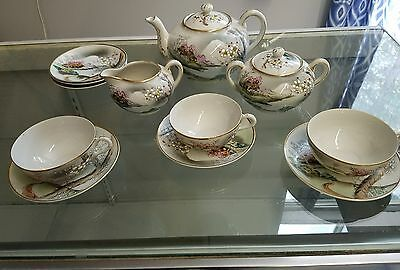 VINTAGE  Hand Painted JAPANESE CHINA 12 Piece  Tea Set