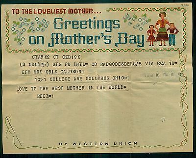 1958 Western Union Mother's Day and Father's Day Telegrams