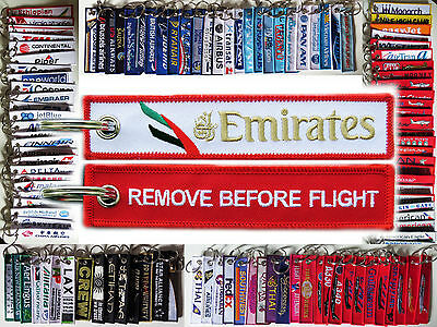 Keyring EMIRATES AIRLINES RED Remove Before Flight baggage tag label keychain