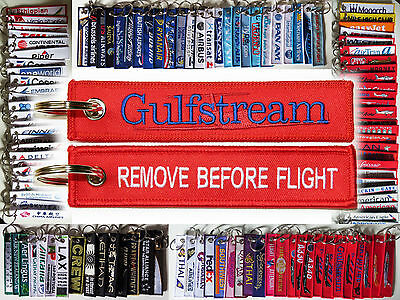 Keyring GULFSTREAM BUSINESS JET Remove Before Flight baggage tag label keychain