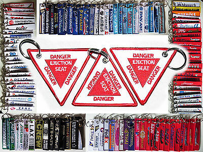 Keyring DANGER EJECTION SEAT TRIANGLE CAUTION SIGN Military Jet fighter aircraft