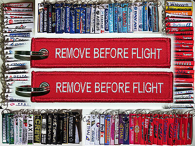 Keyring classic RED Remove Before Flight style tag keychain baggage label