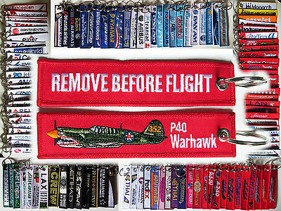 Keyring P-40 Warhawk Remove Before Flight tag keychain label P40
