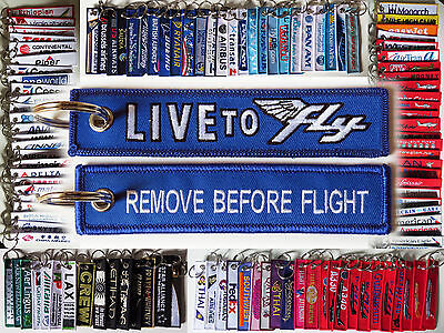Keyring LIVE TO FLY Remove Before Flight style tag classic retro design