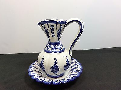 Portugal Hand Painted Blue And White Pitcher & Bowl