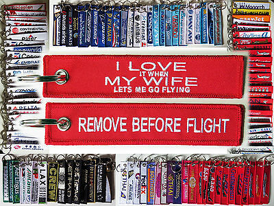 "Keyring ""LOVE it when MY WIFE lets me go flying"" Remove Before Flight style tag"