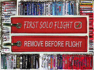 Keyring FIRST SOLO FLIGHT for student pilots Remove Before Flight tag