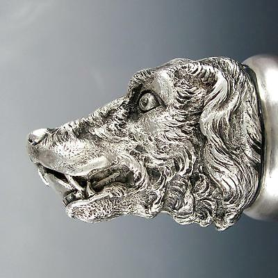 Antique French Sterling Silver Stirrup Cup Hound Dog Head Equestrian Fox Hunting