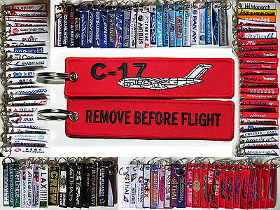 Keyring BOEING C17 Remove Before Flight tag Pilot keychain military transporter