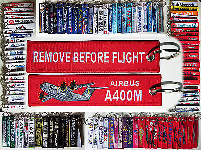 Keyring AIRBUS A400M Remove Before Flight Pilot keychain military transporter