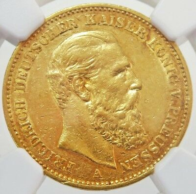 1888 A Gold German State Prussia 20 Mark Friedrich Iii Coin Ngc About Unc 55