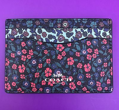 New Coach Ranch Flowers PVC Card Case Credit Card Holder Mini Wallet 59554