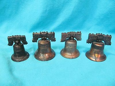 Lot Of 4 Vintage Metal Liberty Bells